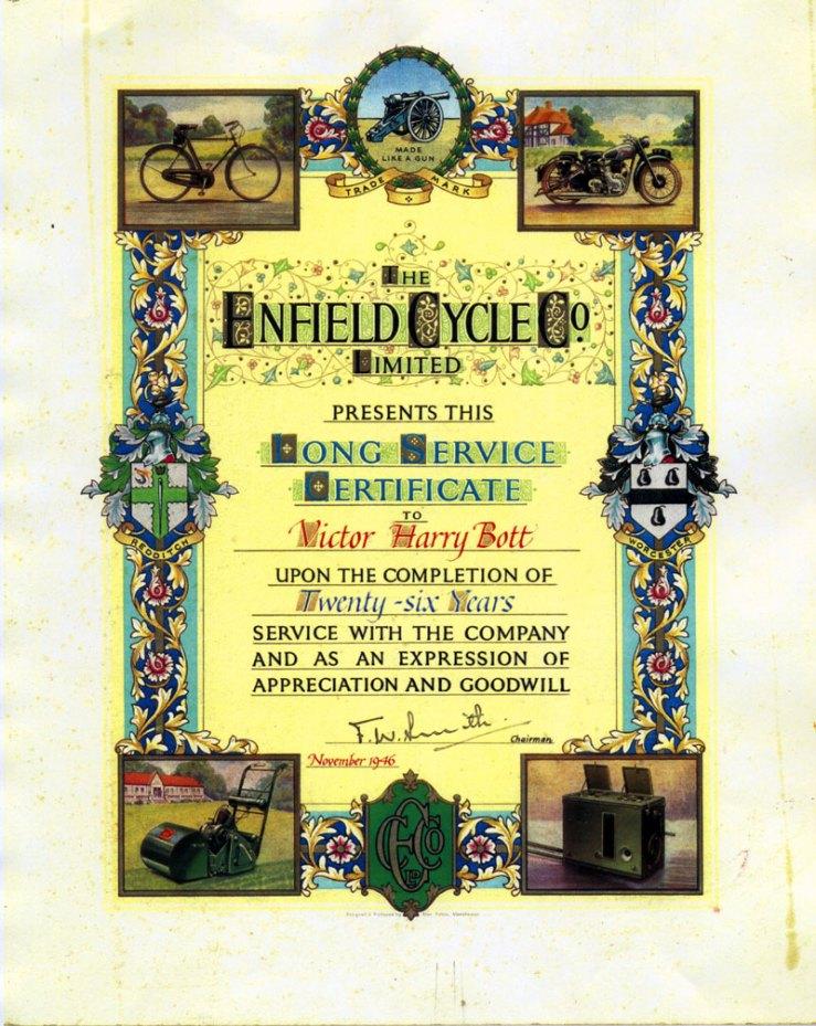 Vic Bott certificate