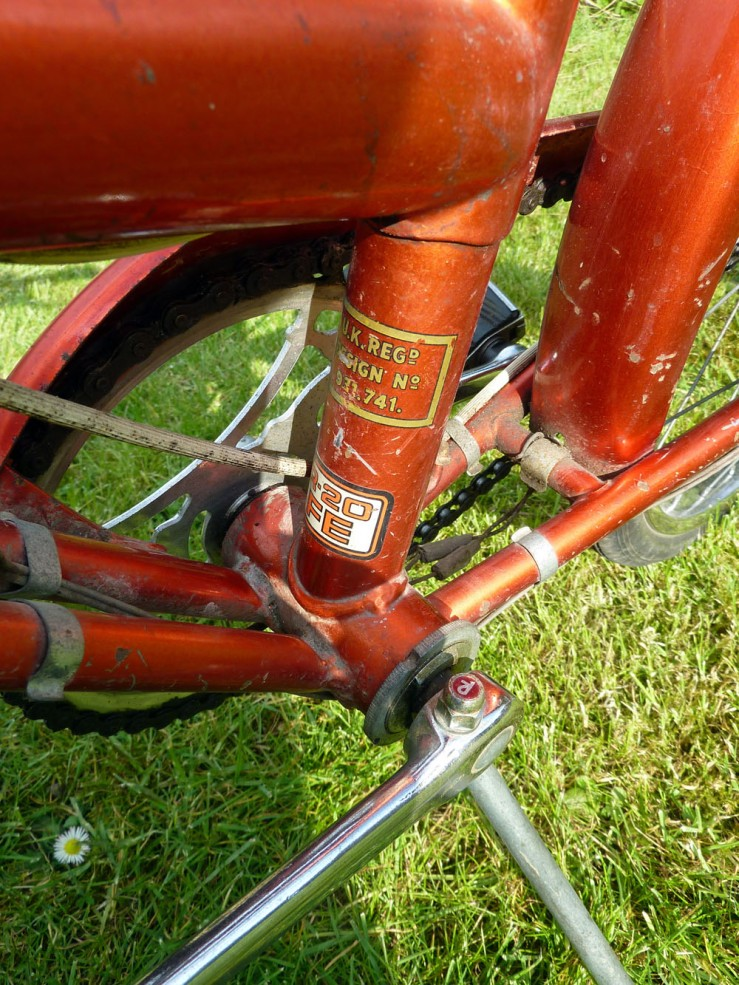 The final picture shows the bottom bracket area from the left-hand side. The fixing for the very robust and reliable propstand is brazed to the underside of the bottom bracket. A nice touch on the Raleigh-branded 20s (as distinct from the versions sold under other Raleigh-owned brand names) is the cotter pin nuts bearing the Raleigh monogram.
