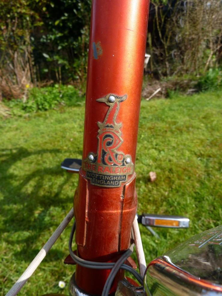 A proper metal heron's head Raleigh head badge, riveted on by hand. None of your cheap self-adhesive stickers in those days!