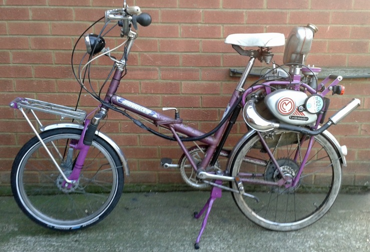 The folding Raleigh 20 converted into a moped by Chris Sawyer