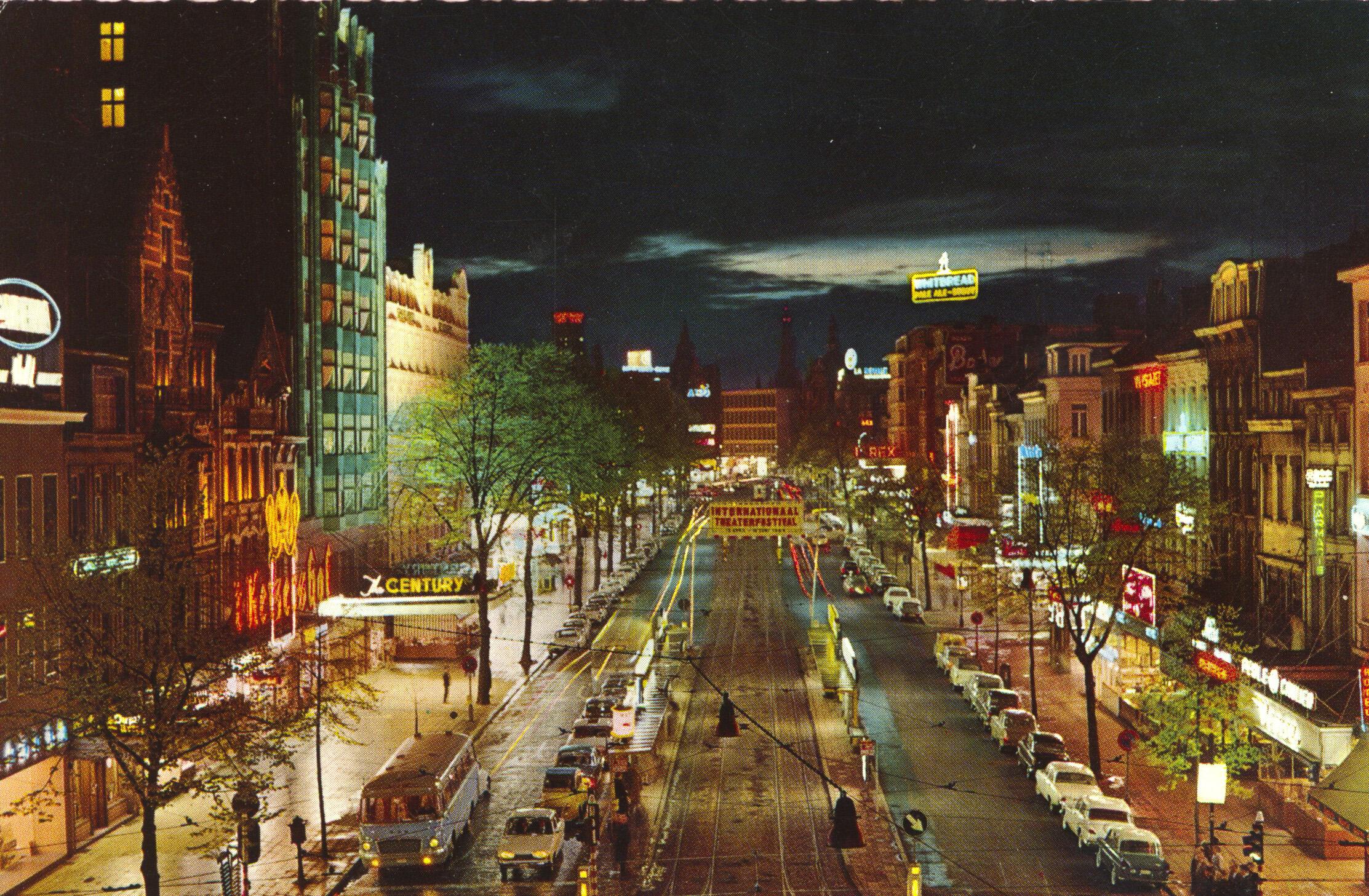 1966 approx postcard, Antwerp de Keiserlei
