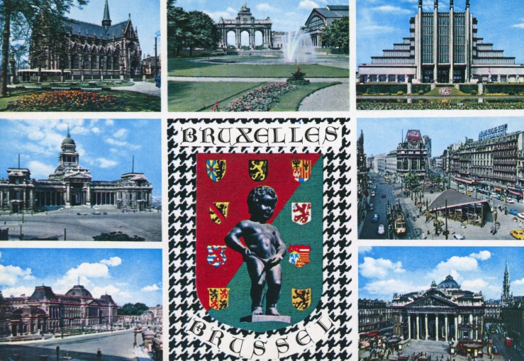 1966 approx postcard, Brussels misc views